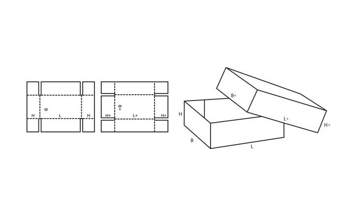 Коробка из картона с крышкой схемы с размерами
